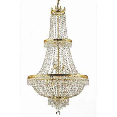 French Empire 15 Light Gold Chandelier with Crystal