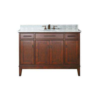 Madison 49 in. W x 22 in. D x 35 in. H Vanity in Tobacco with Marble Vanity Top in Carrera White and White Basin