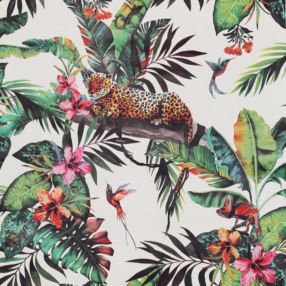 White Multi Animal Jungle Wallpaper