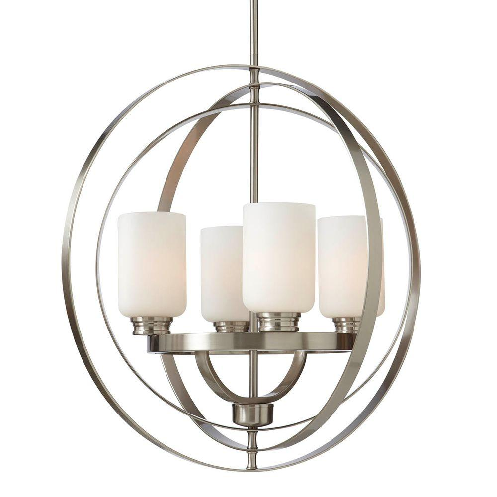 4 Light Brushed Nickel Chandelier With Etched White Gl Shades