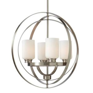 Home Decorators Collection 4-Light Brushed Nickel Chandelier with Shade with Etched White... by Home Decorators Collection