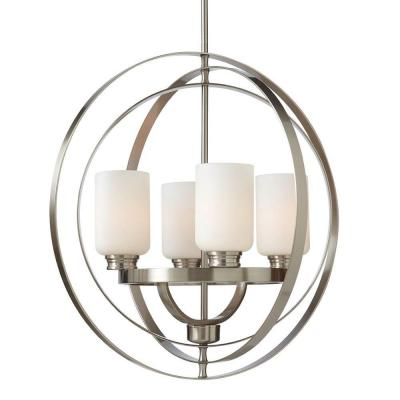 24 in. 4-Light Brushed Nickel Chandelier with Etched White Glass Shades