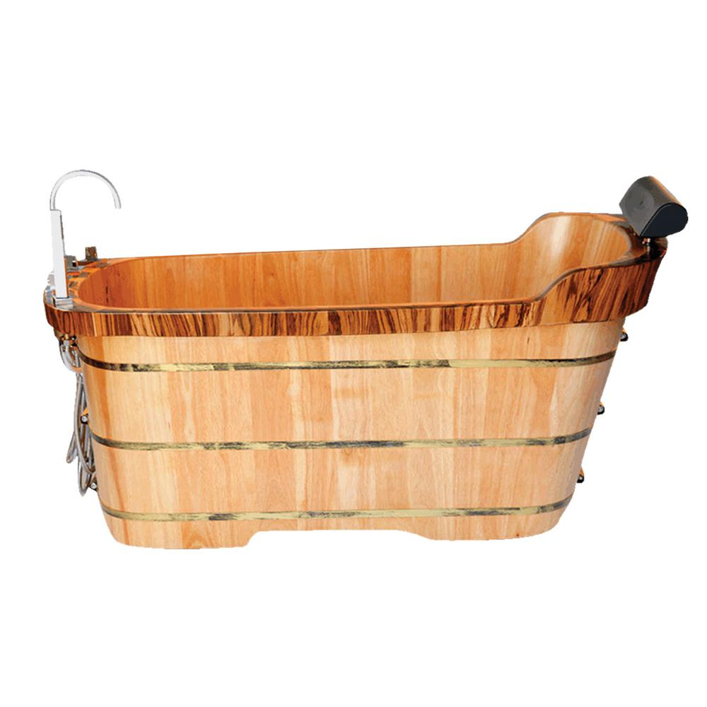 ALFI BRAND 59 in. Wood Flatbottom Bathtub in Natural Wood-AB1148 ...