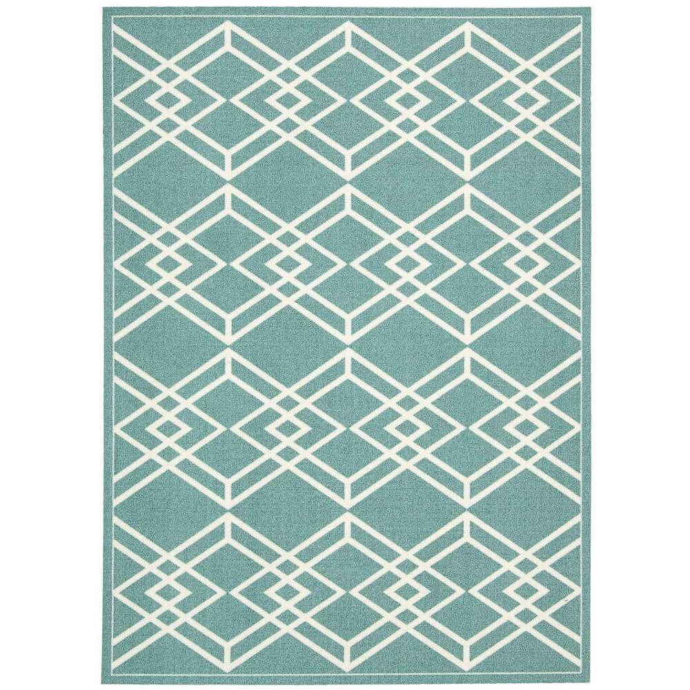 Nourison Overstock Enhance Turquoise 8 ft. x 10 ft. Area Rug-217929 ...