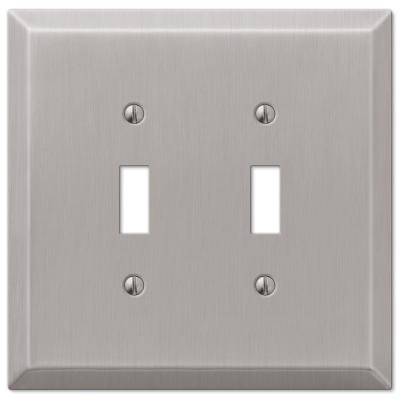 Oversized 2 Gang Toggle Steel Wall Plate - Brushed Nickel