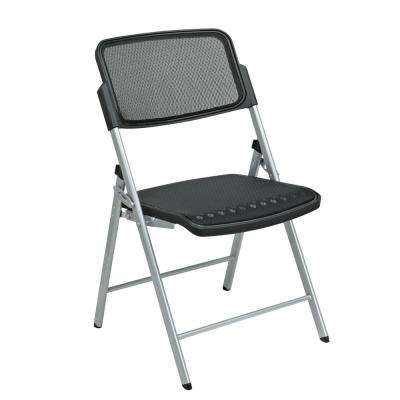Black/Silver Plastic Seat Stackable Folding Chair (Set of 2)