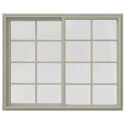 59.5 in. x 47.5 in. V-4500 Series Right-Hand Sliding Vinyl Window with Grids - Tan