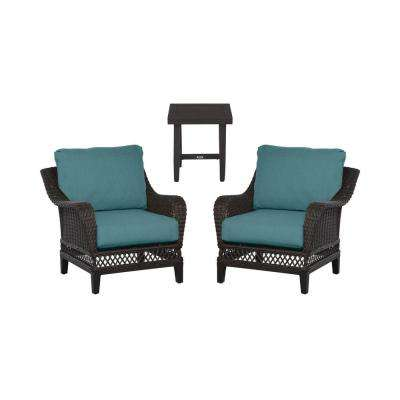 Woodbury 3-Piece Dark Brown Wicker Outdoor Patio Seating Set with CushionGuard Charleston Blue-Green Cushions
