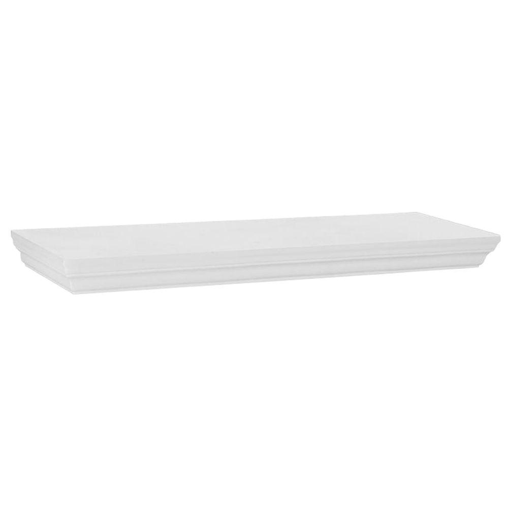 23.6 in. W x 7.5 in. D x 1.77 in. H White Profile MDF Floating Shelf