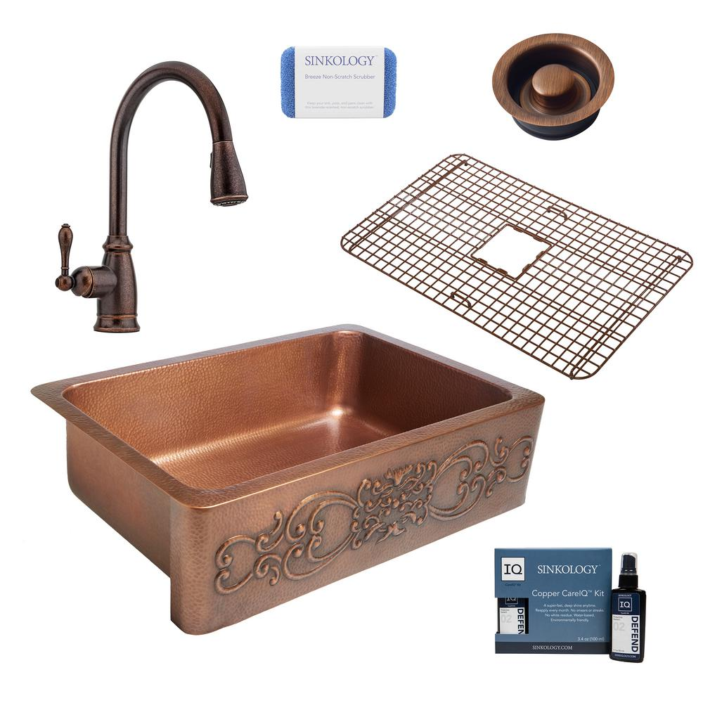SINKOLOGY Ganku All-in-One Farmhouse Solid Copper 33 in. Single Bowl Kitchen Sink with Pfister Faucet and Disposal Drain in Bronze
