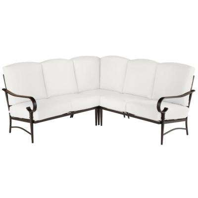 Oak Cliff Brown 3-Piece Steel Outdoor Patio Sectional Sofa with CushionGuard Chalk White Cushions