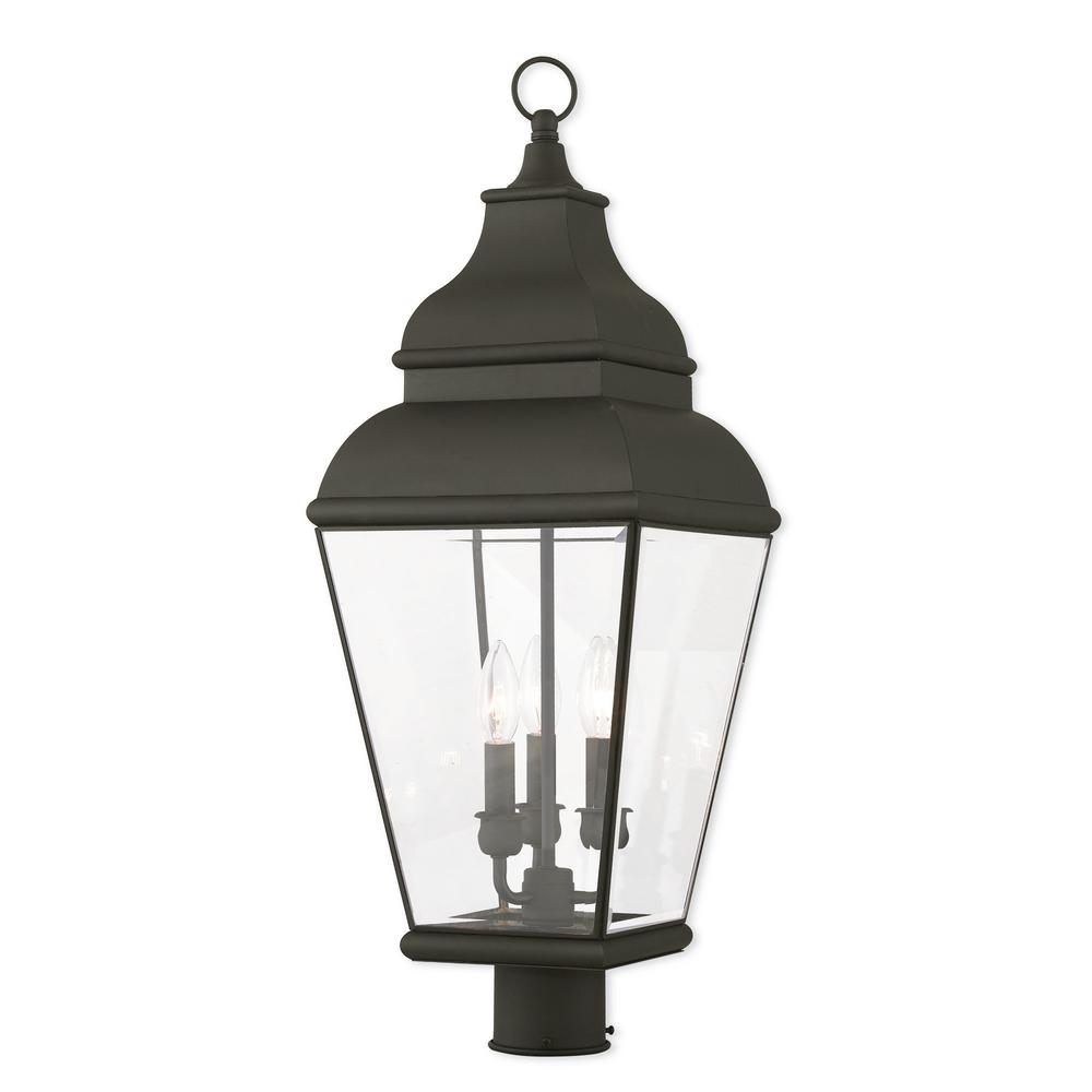 Livex Lighting Exeter 3-Light Outdoor Black Post Light