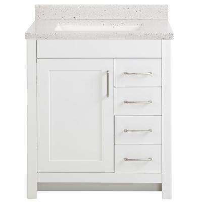 Westcourt 31 in. W x 22 in. D Bath Vanity in White with Solid Surface Vanity Top in Silver Ash with White Sink