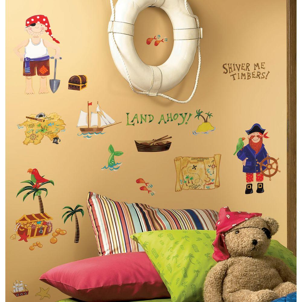 10 in. x 18 in. Treasure Hunt 45-Piece Peel and Stick Wall Decals ...