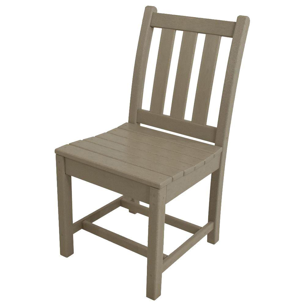 POLYWOOD Traditional Garden Sand All-Weather Plastic Outdoor Dining Side  Chair
