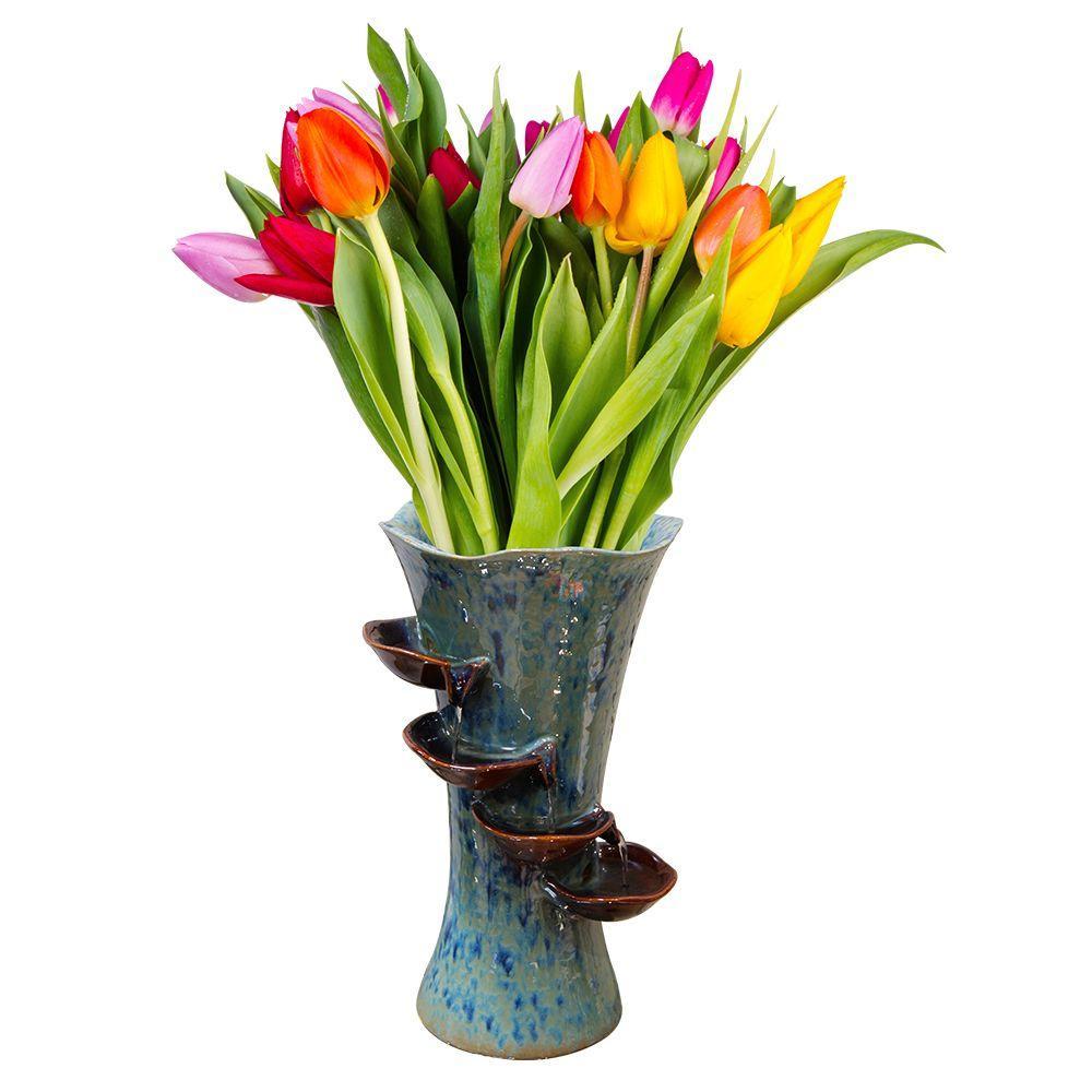 16 in. Ceramic Vase Tabletop Fountain