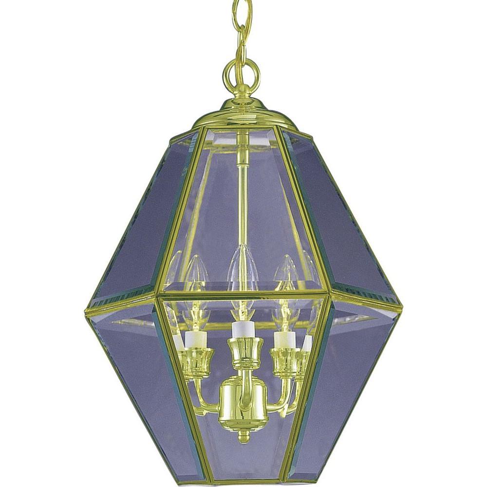 3-Light Polished Brass Interior Pendant
