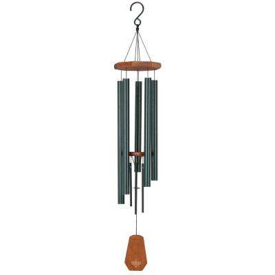 Precision-Tuned Echo 40 in. Aluminum and Steel Double Wind Chime - Verdigris