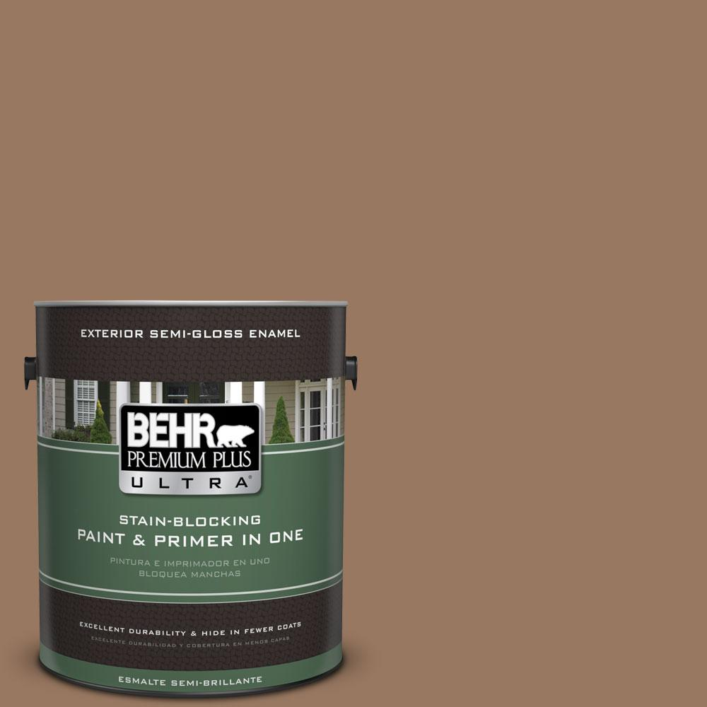 BEHR Premium Plus Ultra 1-gal. #ECC-40-3 Seasoned Acorn Semi-Gloss Enamel Exterior Paint