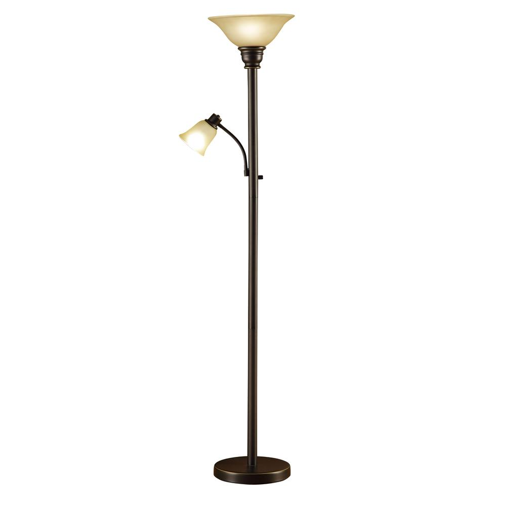 71 in. Oil Rubbed Bronze Torchiere Floor Lamp with Adjustable Reading