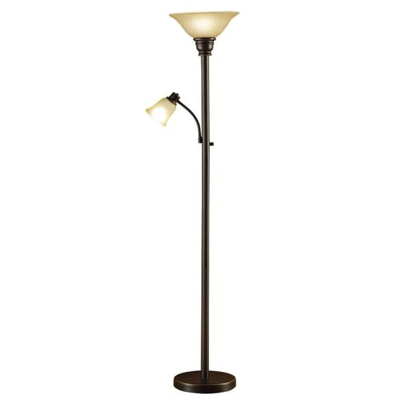 71 in. Oil Rubbed Bronze Torchiere Floor Lamp with Adjustable Reading Light