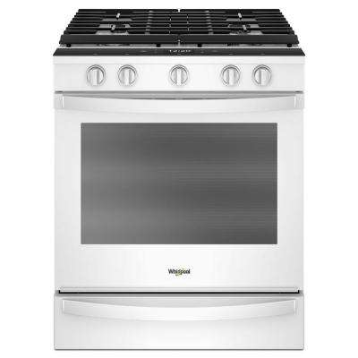5.8  cu. ft. Smart Slide-In Gas Range with EZ-2-LIFT Hinged Cast-Iron Grates in White