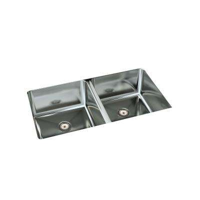 Cantrio Undermount Stainless Steel 32 in. Double Bowl Kitchen Sink