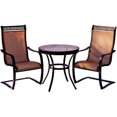 Monaco 3-Piece Aluminum Outdoor Bistro Set with Round Glass-Top Table with Contoured Sling Spring Chairs