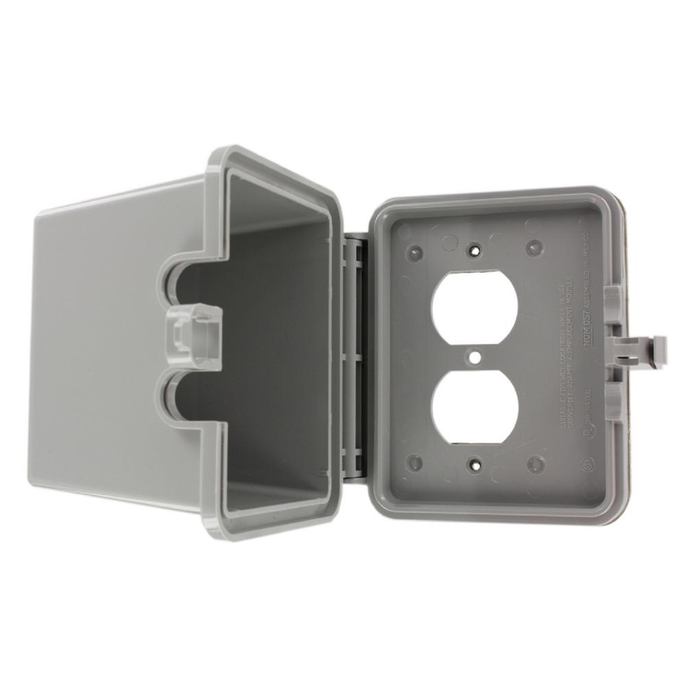1-Gang Raintight While-In-Use Duplex Outlet Device Mount Horizontal Cover with