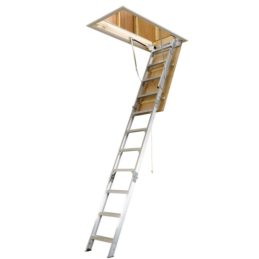 8 ft. - 10 ft, 25 in. x 54 in. Aluminum Attic Ladder with 375 lb. Maximum Load Capacity