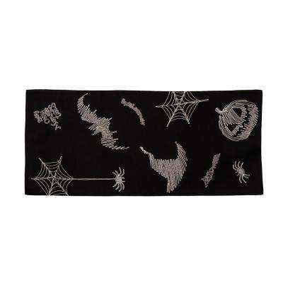 0.1 in. H x 16 in. W x 36 in. D Happy Halloween Double Layer Table Runner in Black