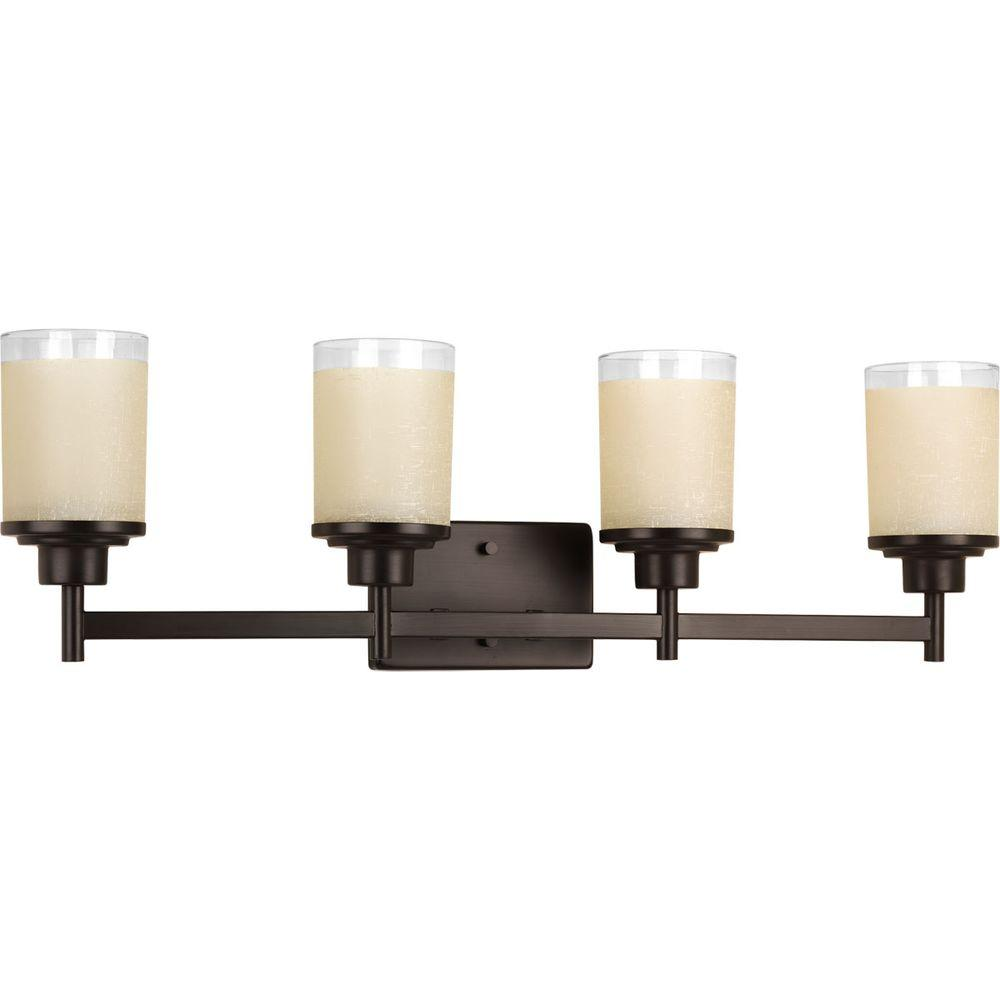 Alexa Collection 4-Light Antique Bronze Bathroom Vanity Light with Glass Shades