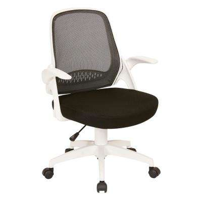 Jackson Black Mesh and White Frame Office Chair with Flip Arms