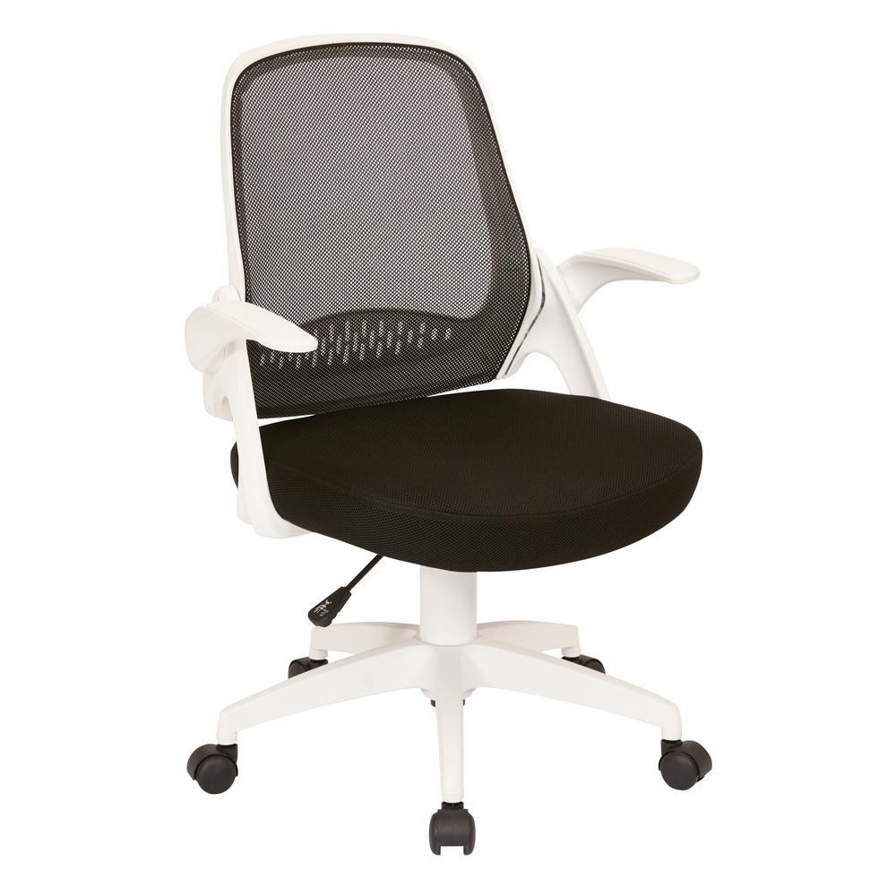 OSP Home Furnishings Jackson Black Mesh and White Frame Office Chair
