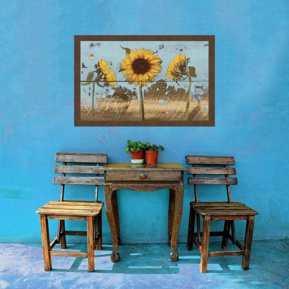 27.5 in. x 37.5 in. 'Sunflowers On Wood IV' by Sandra