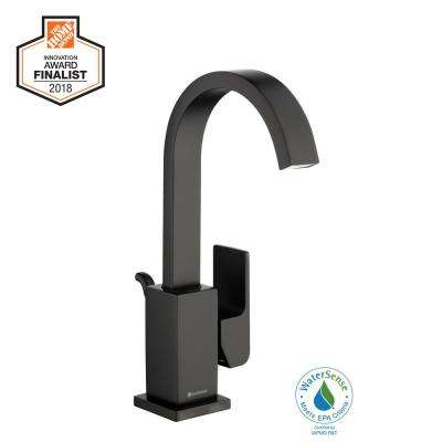 Farrington Single Hole Single-Handle High-Arc Bathroom Faucet in Matte Black