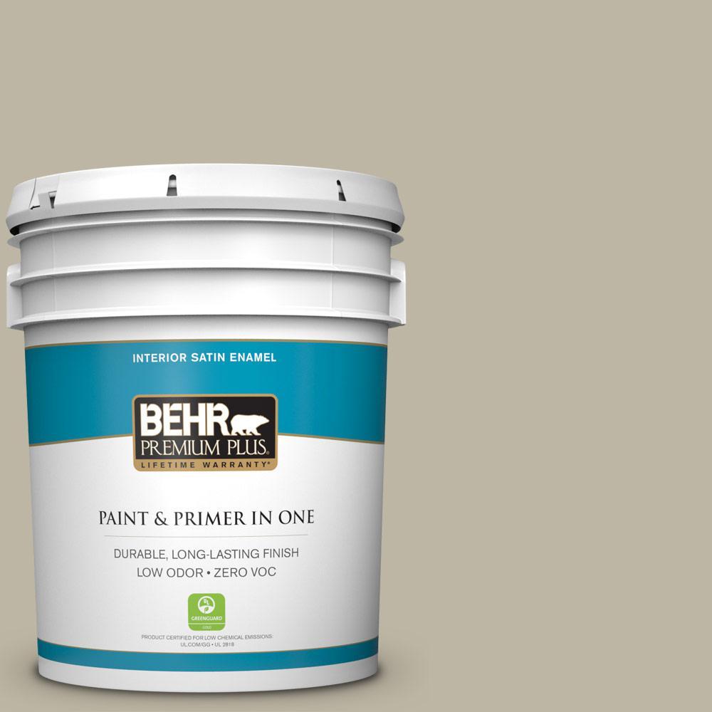 BEHR Premium Plus 5-gal. #780D-4 Koala Bear Zero VOC Satin Enamel Interior Paint