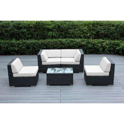 Black 5-Piece Wicker Patio Seating Set with Sunbrella Natural Cushions