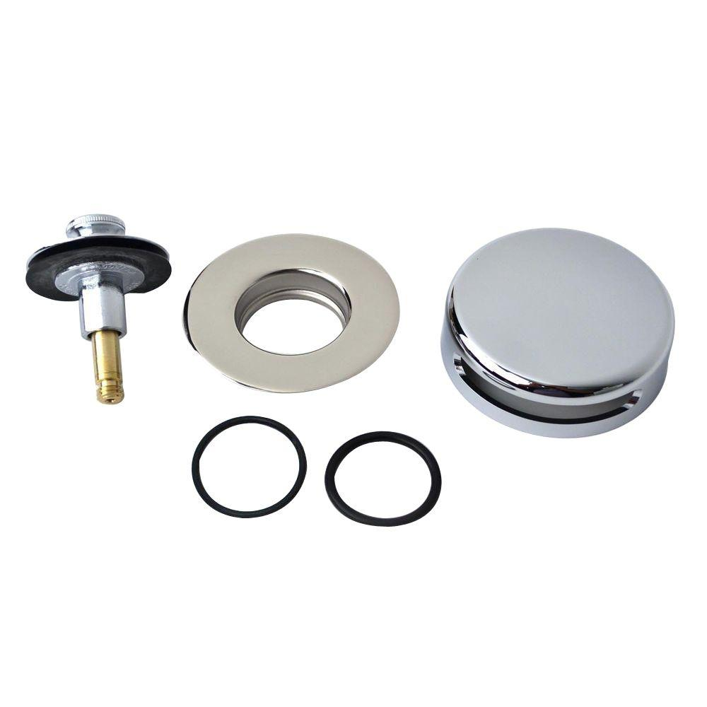 Watco QuickTrim Push Pull Bathtub Stopper and Innovator Overflow Kit in Chrome Plated