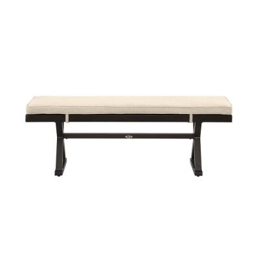 Woodbury Dark Brown Aluminum Outdoor Patio Bench with CushionGuard Putty Tan Cushions
