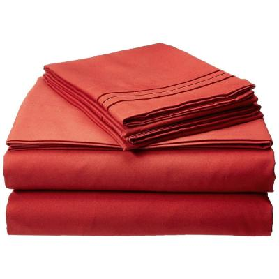 4-Piece Rust Solid Microfiber Queen Sheet Set