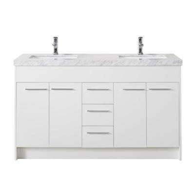 Lotus 60 in. Bath Vanity in White with White Marble Vanity Top in White with White Basin