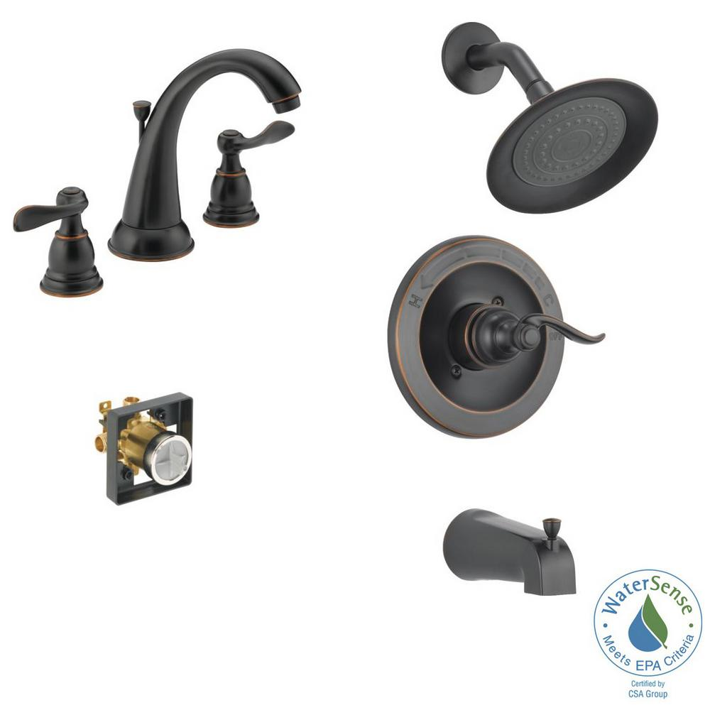 Delta Windemere 8 In Widespread 2 Handle Bathroom Faucet Bundle With Tub Shower