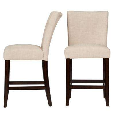 24 in. Whitmire Oatmeal Cushioned Bar Stool (Set of 2)