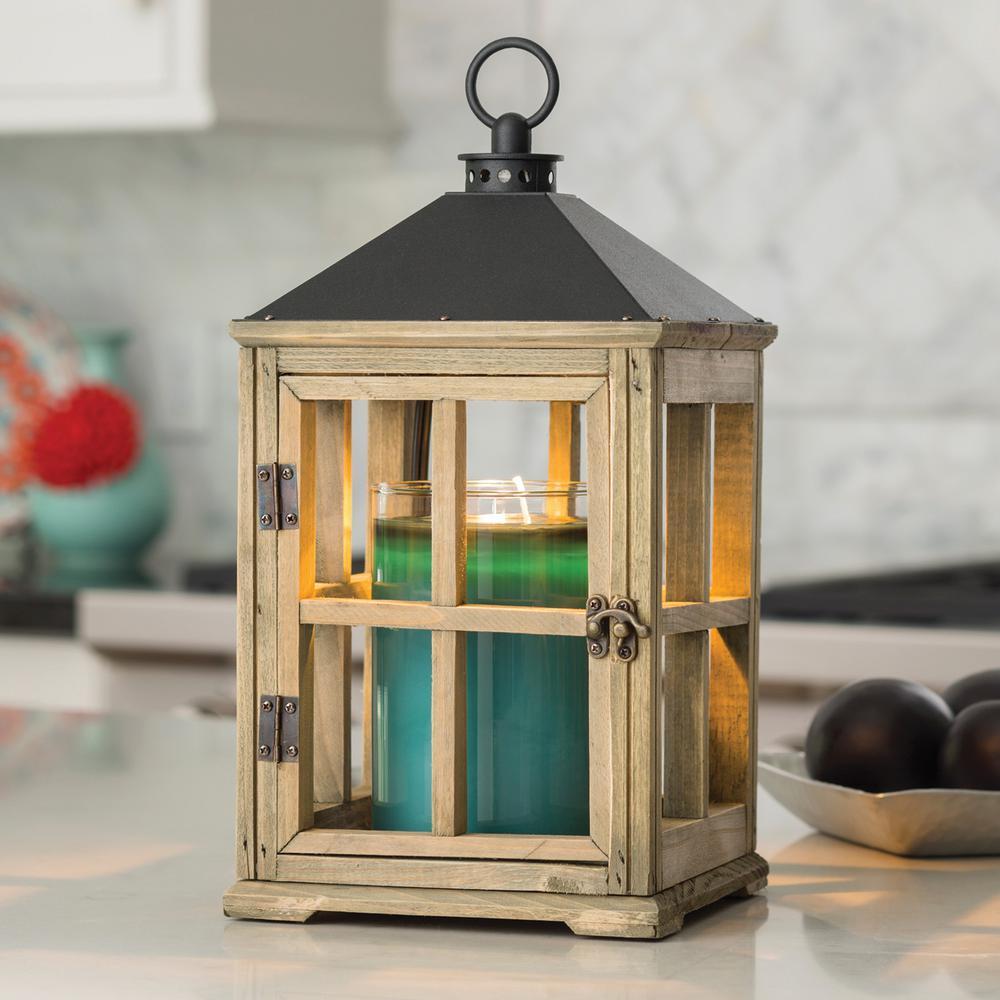 13 in. Driftwood Candle Warmer Lantern