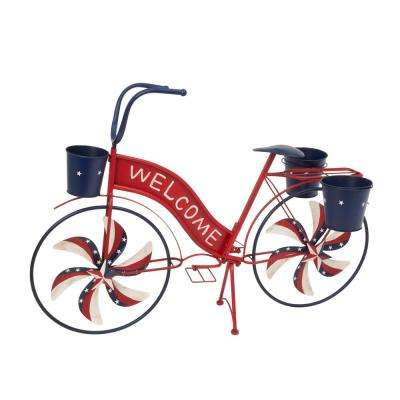 37 in. L Metal Bicycle with Spinning Spokes and Planters