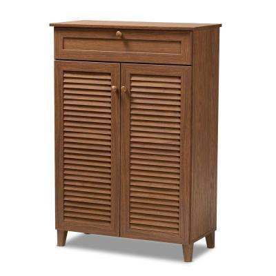 Coolidge 45 in. H x 31 in. W 15-Pair Walnut Wood Shoe Storage Cabinet