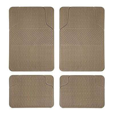 Tan Durable 4-Pieces 28 in. x 18 in. Anti-Slip All Weather Rubber Floor Mats