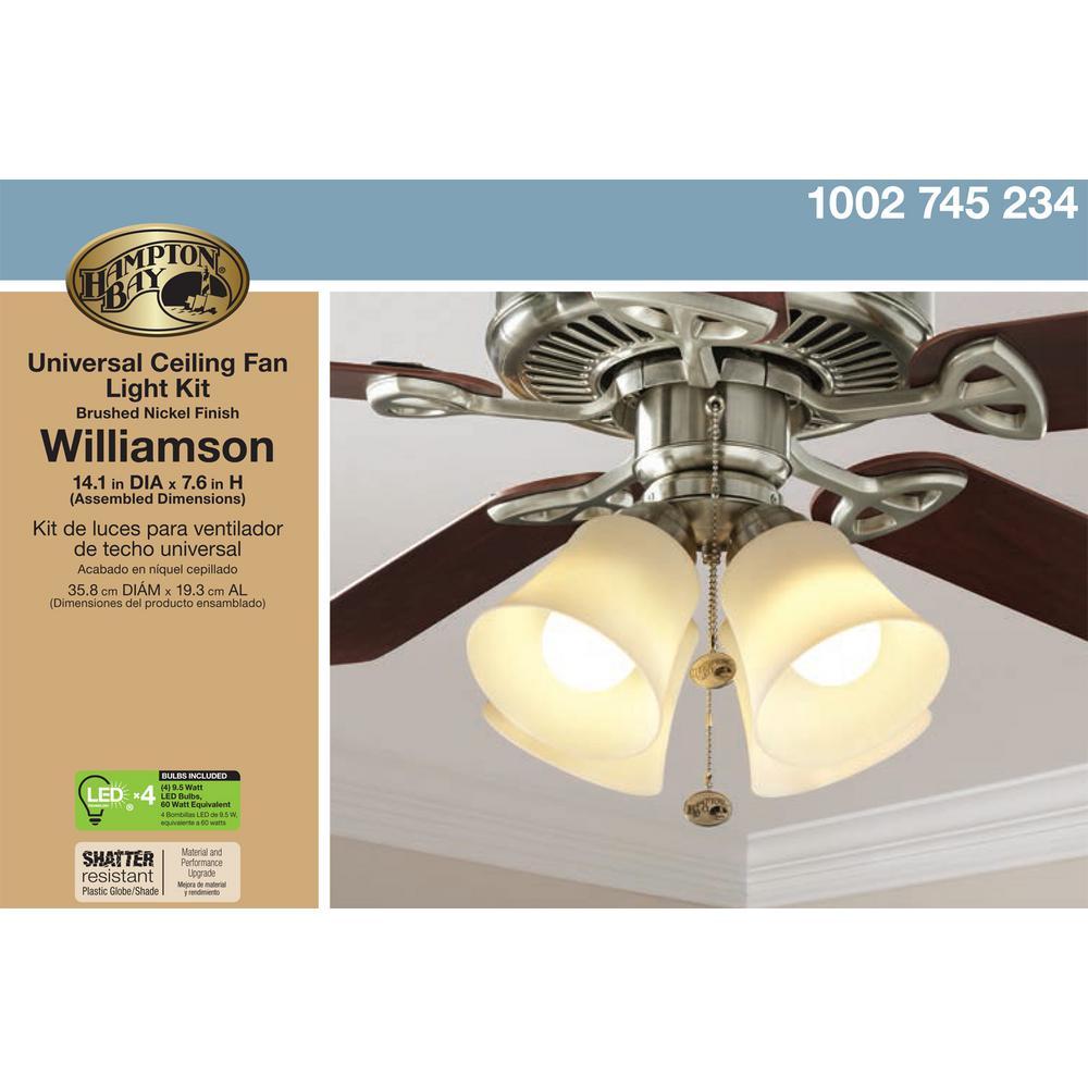 Hampton Bay Williamson Led Universal Ceiling Fan Light Kit 64401 The Home Depot