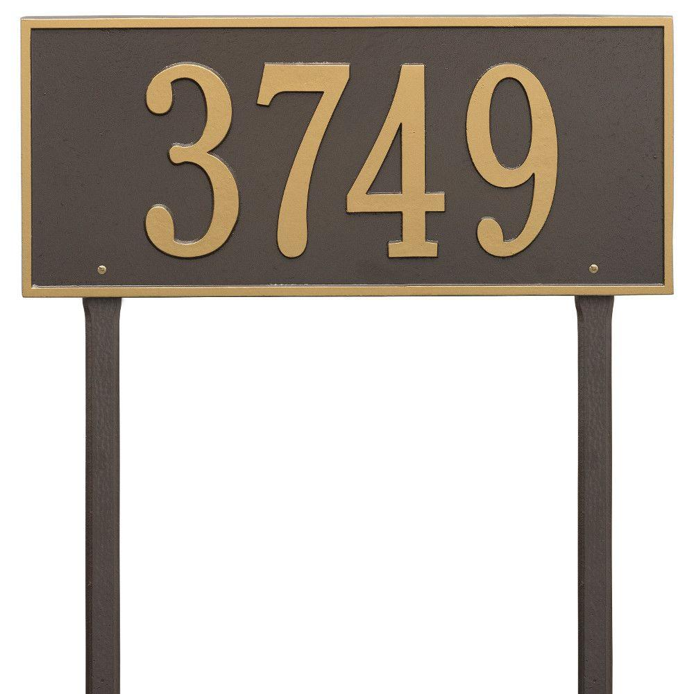 Hartford Rectangular Bronze/Gold Estate Lawn 1-Line Address Plaque